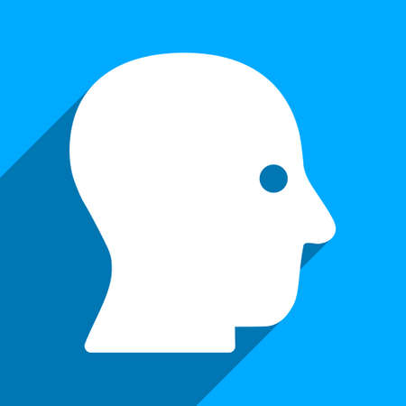 silent: Silent Head long shadow vector icon. Style is a flat silent head iconic symbol on a blue square background. Illustration