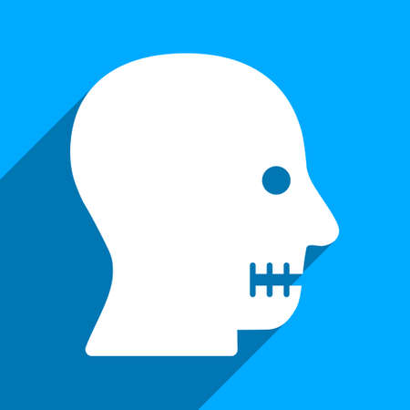 long mouth: Sewn Mouth long shadow vector icon. Style is a flat sewn mouth iconic symbol on a blue square background.