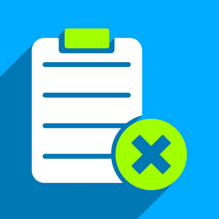 valid: Reject Form long shadow vector icon. Style is a flat reject form iconic symbol on a blue square background.