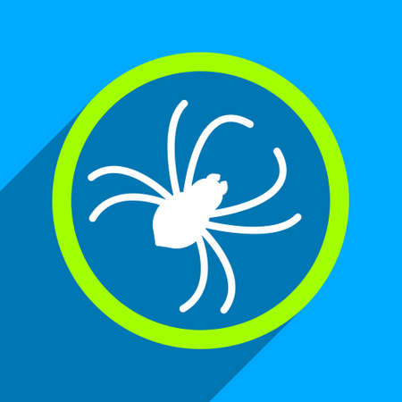 web crawler: Spider long shadow vector icon. Style is a flat spider iconic symbol on a blue square background. Illustration