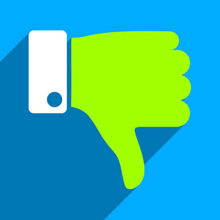 ugly gesture ugly gesture: Thumb Down long shadow vector icon. Style is a flat thumb down iconic symbol on a blue square background.