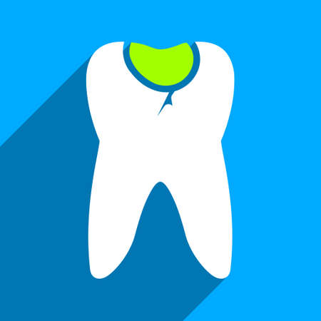 long recovery: Tooth Caries long shadow vector icon. Style is a flat tooth caries iconic symbol on a blue square background. Illustration