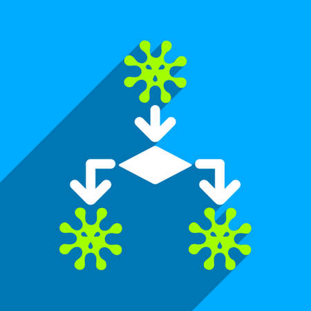 idler: Virus Reproduction long shadow vector icon. Style is a flat virus reproduction iconic symbol on a blue square background. Illustration