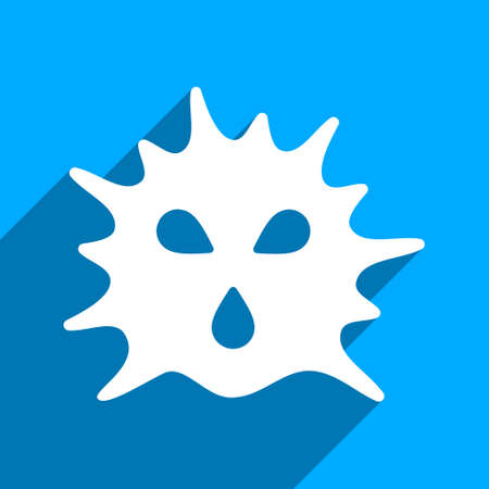 ameba: Virus Structure long shadow vector icon. Style is a flat virus structure iconic symbol on a blue square background. Illustration
