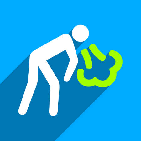 vomiting: Vomiting Person long shadow vector icon. Style is a flat vomiting person iconic symbol on a blue square background.