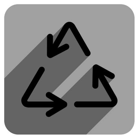 iconic: Recycle Arrows long shadow vector icon. Style is a flat recycle arrows iconic symbol on a gray square background. Illustration