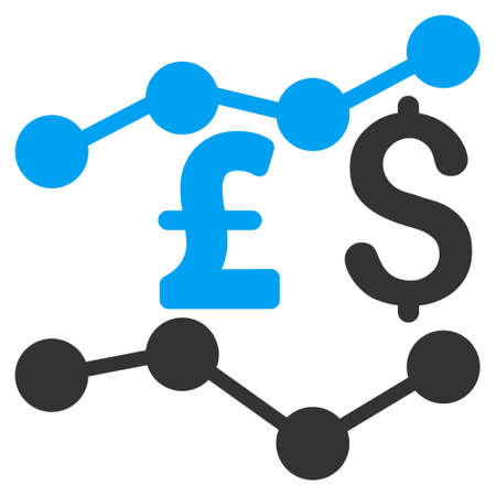 trends: Pound and Dollar Trends vector icon. Pound And Dollar Trends icon symbol. Pound And Dollar Trends icon image. Pound And Dollar Trends icon picture. Pound And Dollar Trends pictogram.