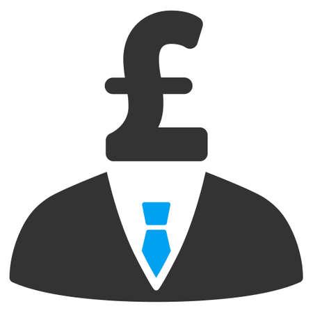 stockbroker: Pound Businessman vector icon. Pound Businessman icon symbol. Pound Businessman icon image. Pound Businessman icon picture. Pound Businessman pictogram. Flat pound businessman icon.