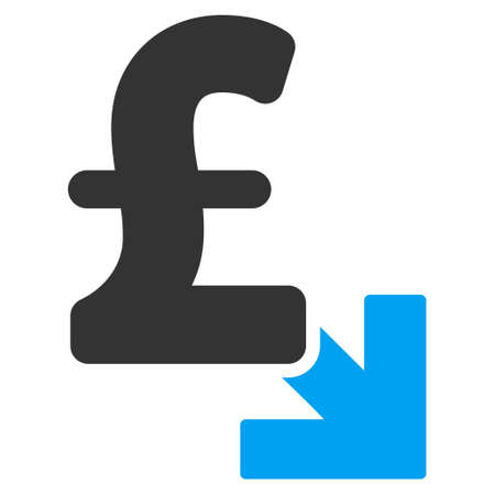 decrease: Pound Decrease vector icon. Pound Decrease icon symbol. Pound Decrease icon image. Pound Decrease icon picture. Pound Decrease pictogram. Flat pound decrease icon.