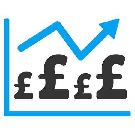 financial graph: Pound Financial Graph vector icon. Pound Financial Graph icon symbol. Pound Financial Graph icon image. Pound Financial Graph icon picture. Pound Financial Graph pictogram.