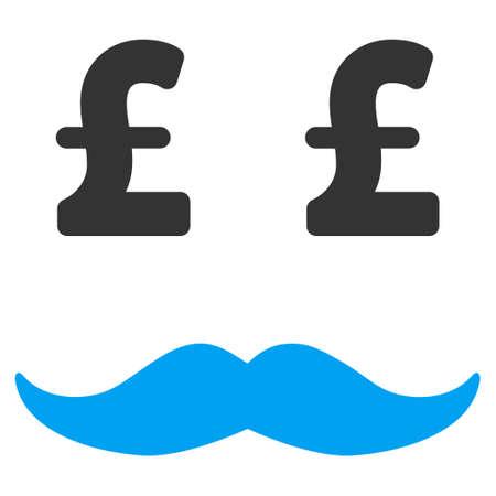 millionaire: Pound Millionaire Mustache vector icon. Pound Millionaire Mustache icon symbol. Pound Millionaire Mustache icon image. Pound Millionaire Mustache icon picture. Pound Millionaire Mustache pictogram.