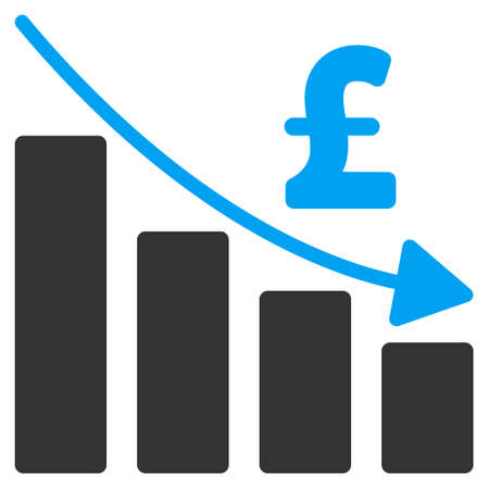 recession: Pound Recession Bar Chart vector icon. Pound Recession Bar Chart icon symbol. Pound Recession Bar Chart icon image. Pound Recession Bar Chart icon picture. Pound Recession Bar Chart pictogram.
