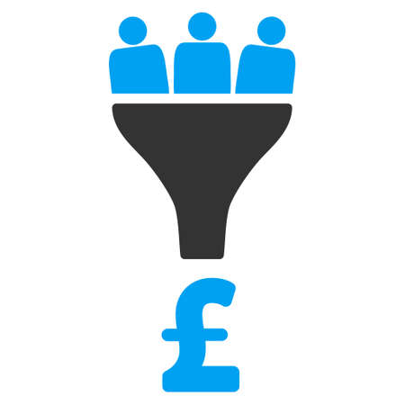 Pound sales funnel vector icon. Pound Sales Funnel pictogram symbool. image Funnel pictogram pond Sales. Pound Sales Funnel icoon beeld. Pound Sales Funnel pictogram. Flat pond sales funnel icoon. Stock Illustratie