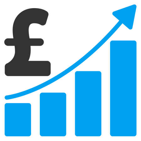 sales growth: Pound Sales Growth Chart vector icon. Pound Sales Growth Chart icon symbol. Pound Sales Growth Chart icon image. Pound Sales Growth Chart icon picture. Pound Sales Growth Chart pictogram.