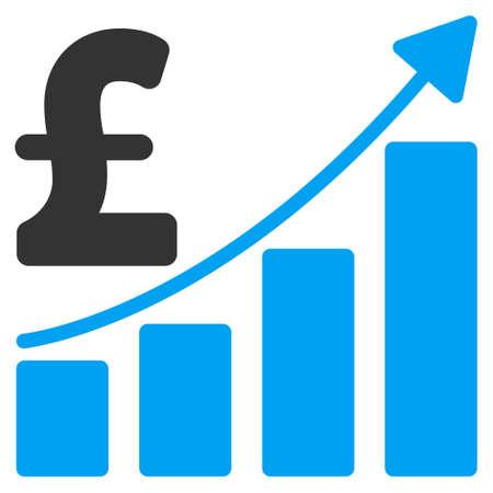 Pound Sales Growth Grafico icone vettoriali. Pound Sales Growth icona Grafico simbolo. Pound Sales Growth immagine dell'icona Chart. Pound Sales Growth icona Grafico immagine. Pound Sales Growth Grafico pittogramma.