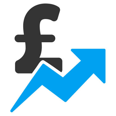 Pound Sales Growth vector icon. Pound Sales Growth icon symbol. Pound Sales Growth icon image. Pound Sales Growth icon picture. Pound Sales Growth pictogram. Flat pound sales growth icon. Ilustração Vetorial