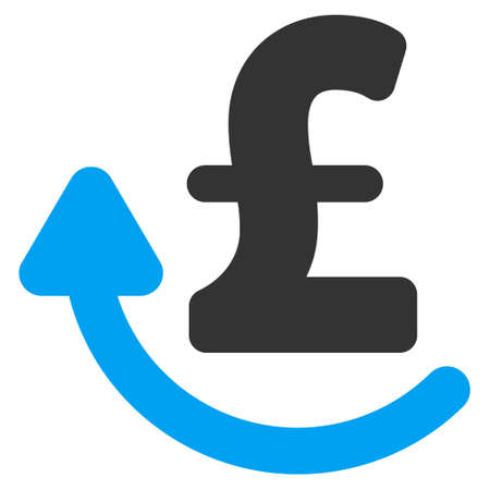 moneyback: Repay Pound vector icon. Repay Pound icon symbol. Repay Pound icon image. Repay Pound icon picture. Repay Pound pictogram. Flat repay pound icon. Isolated repay pound icon graphic.