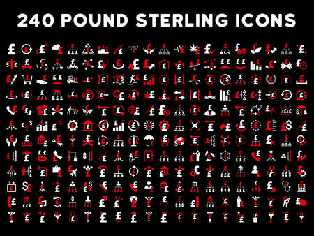 240 British Business vector icons. Style is bicolor red and white flat symbols on a black background. Pound sterling icon is basic element.