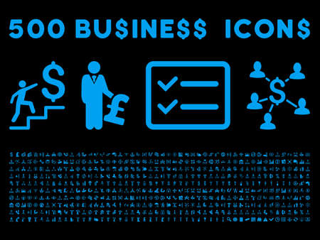 payphone: 500 American and British business vector icons. Style is blue flat icons on a black background.