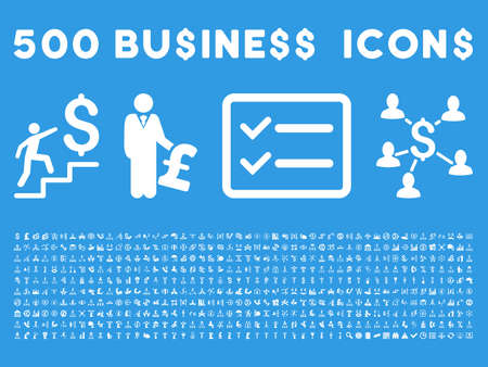 featured: 500 American and British business vector icons. Style is white flat icons on a blue background.