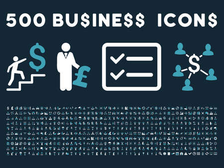 500 American and British business vector icons. Style is bicolor blue and white flat icons on a dark blue background.