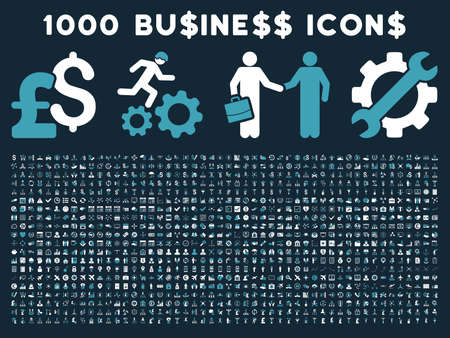 cash register building: 1000 Business vector icons. Pictogram style is bicolor blue and white flat icons on a dark blue background. Pound and dollar currency icons are used