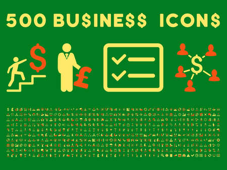 share prices: 500 American and British business vector icons. Style is bicolor orange and yellow flat icons on a green background.