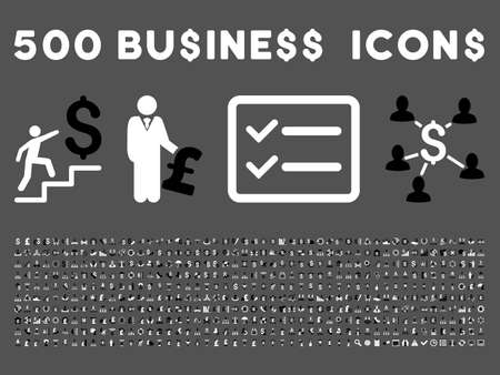 500 American and British business vector icons. Style is bicolor black and white flat icons on a gray background.