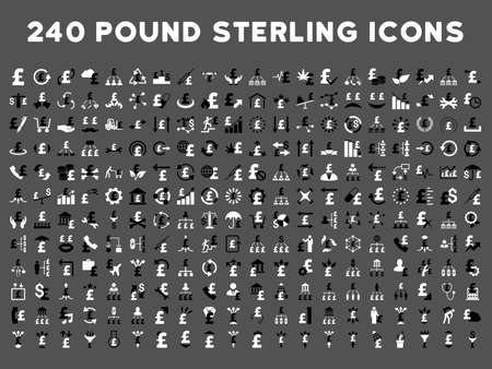drug user: 240 British Business vector icons. Style is bicolor black and white flat symbols on a gray background. Pound sterling icon is basic element.