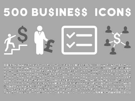 500 American and British business vector icons. Style is bicolor dark gray and white flat icons on a silver background. Ilustracja