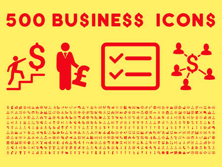 payphone: 500 American and British business vector icons. Style is red flat icons on a yellow background.