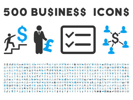 call outs: 500 American and British business vector icons. Style is bicolor blue and gray flat icons on a white background.