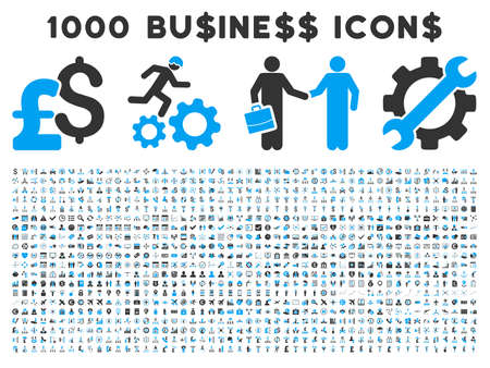 1000 Business vector icons. Pictogram style is bicolor blue and gray flat icons on a white background. Pound and dollar currency icons are used