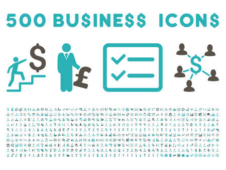cyan business: 500 American and British business vector icons. Style is bicolor grey and cyan flat icons on a white background. Illustration
