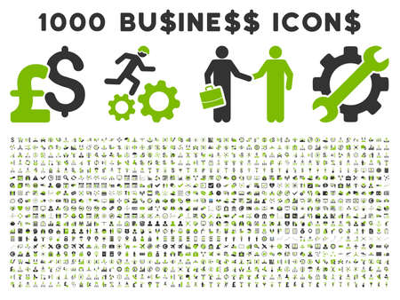 1000 Business vector icons. Pictogram style is bicolor eco green and gray flat icons on a white background. Pound and dollar currency icons are used
