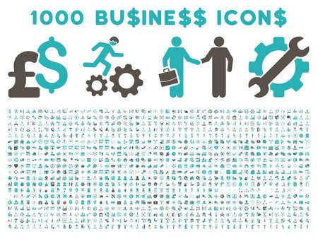 cyan business: 1000 Business vector icons. Pictogram style is bicolor grey and cyan flat icons on a white background. Pound and dollar currency icons are used