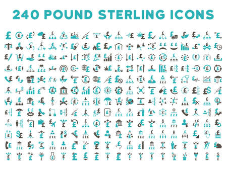 cyan business: 240 British Business vector icons. Style is bicolor grey and cyan flat symbols on a white background. Pound sterling icon is basic element. Illustration