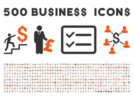500 American and British business vector icons. Style is bicolor orange and gray flat icons on a white background.