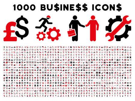 1000 비즈니스 벡터 아이콘입니다. 픽토그램 스타일의 흰색 배경에 바이 컬러 집중적 인 빨간색과 검은 색 플랫 아이콘입니다. 파운드와 달러 통화 아이콘이 사용됩니다 스톡 콘텐츠 - 53702212