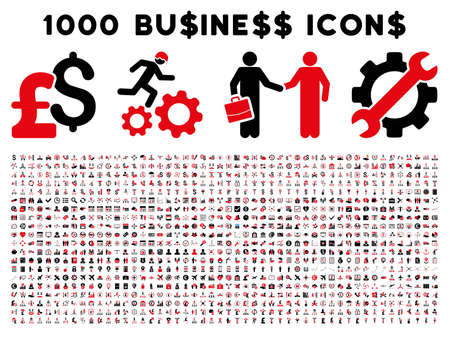 1000 Business vector icons. Pictogram style is bicolor intensive red and black flat icons on a white background. Pound and dollar currency icons are used Vettoriali