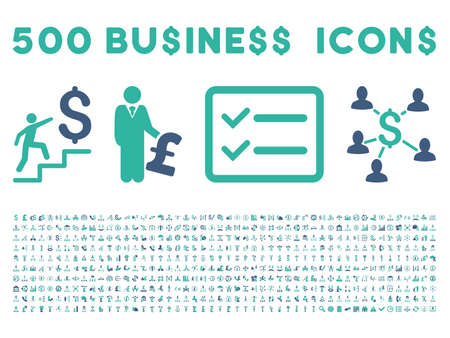 cashflow: 500 American and British business vector icons. Style is bicolor cobalt and cyan flat icons on a white background.
