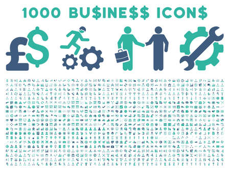 cash register building: 1000 Business vector icons. Pictogram style is bicolor cobalt and cyan flat icons on a white background. Pound and dollar currency icons are used
