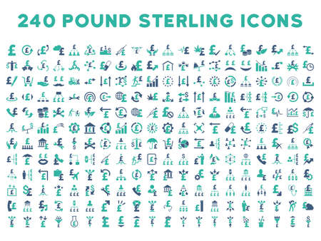 cyan business: 240 British Business vector icons. Style is bicolor cobalt and cyan flat symbols on a white background. Pound sterling icon is basic element.