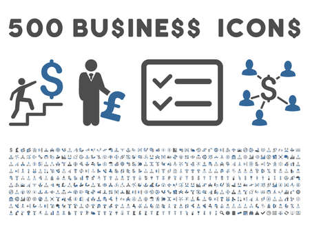 500 American and British business vector icons. Style is bicolor cobalt and gray flat icons on a white background.