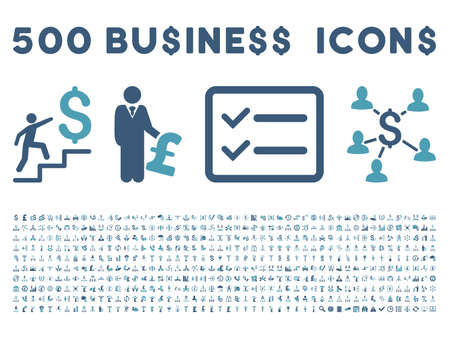 cyan business: 500 American and British business vector icons. Style is bicolor cyan and blue flat icons on a white background.