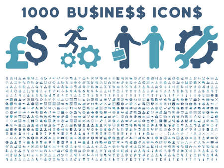 cyan business: 1000 Business vector icons. Pictogram style is bicolor cyan and blue flat icons on a white background. Pound and dollar currency icons are used