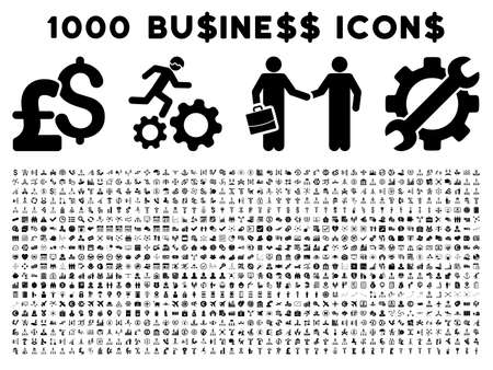 1000 Business vector icons. Pictogram style is black flat icons on a white background. Pound and dollar currency icons are used Ilustração