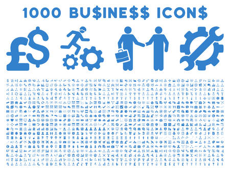 1000 Business vector icons. Pictogram style is cobalt flat icons on a white background. Pound and dollar currency icons are used