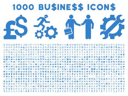 1000 vecteur affaires icônes. style Pictogram est des icônes plates cobalt sur un fond blanc. Pound et devises dollar icônes sont utilisées