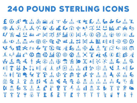 drug user: 240 British Business vector icons. Style is cobalt flat symbols on a white background. Pound sterling icon is basic element.